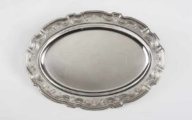 Silbertablett Tiffany & Co. Sterlingsilber 925, oval, mit Zierumrandung, 36 x 26 cm, Länge 35,5