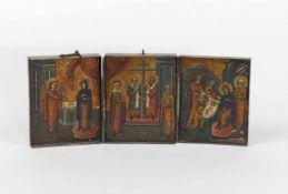 Tryptichon Darstellungen: Maria Verkündigung, Kreuzerhöhung, Geburt Christi, 1.Hälfte 20.Jh., ca.