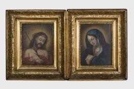 Unbekannter Künstler 2 Bilder, Christus mit der Dornenkrone und Maria, Öl auf Blech, kleine