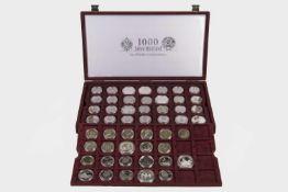 76 Münzen 1000 Jahre Rußland 64 und 1, Stück Kupfer - Nickellegierung,11 Stück Silberlegierung
