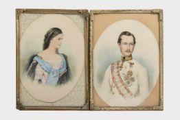 2 Aquarelle vermutlich Kaiser Franz Josef und Sisi, jeweils16x12 cm, verglast, gerahmt;