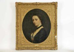 Damenporträt im Oval Öl auf Leinwand, innen 60x49,5cm, 80x70cm, Rahmen stark besch.