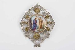 Erinnerungstaufgeschenk Johannes der Täufer, auf Porzellan, tlw. Silberfiligranfassung, rückseitig