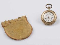"""Damentaschenuhr Gold 585, Zylinderwerk, aufwendig handgraviertes Gehäuse (""""Dame im Garten""""),"""