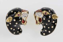 """Paar Ohrklips """"Panther"""" Gold 750 mit Brillanten zus.ca.0,50 ct, je 1 Rubin, Emaillack, 43,1 g,"""