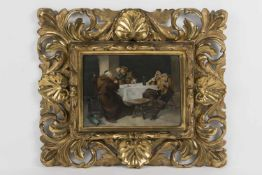 Künstler Anfang 20.Jh., Wirtshausszene, Öl auf Karton, 14,5x20 cm, sehr schöner Holzrahmen,