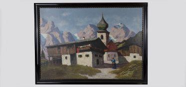 J.Mahler (Tirol 1930/40) Dorfidylle in den Alpen, Gouache auf Karton, signiert J.Mahler, 98x69 cm,