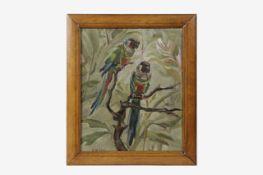 Maria Király (Przemysl 1897-1975 Wien) Papageien, signiert Király, Öl auf Leinwand, 33,5x27,5 cm,
