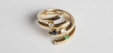 Damenring Gold 750 mit Brillanten, zus.ca.0,40 ct, und je 1 Saphir und Smaragd, RW 57, 14,5 g;