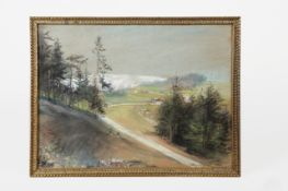 Ludwig Michalek (1859 Temeschwar-1942 Wien) Ortschaft Semmering, Kreidezeichnung, signiert Ludwig