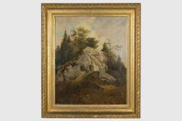 Kopie nach Hansch signiert C.Fichtner 873, Felsenlandschaft, Öl auf Leinen, 53x44 cm, gerahmt,