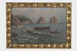 Künstler 20.Jh., Fischer bei der Arbeit, Öl auf Karton, 22x34 cm, gerahmt;
