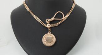Uhrenkette mit Schuber und Medaillon Gold 580, Länge ca.45cm, Medaillon mit Ziergravur und