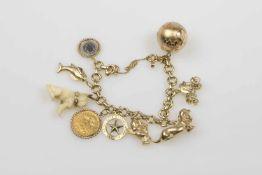 Bettelarmband Gold 585 und 986 sowie Platin 999, 9 Anhänger,Sicherheitskette, Länge ca.18 cm, 71,9