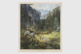 Karl Berger (Pernitzer Maler gest.1988) Aquarell, Rax, Kesselgraben, signiert Berger, datiert