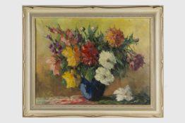 Istvan Megyery (ungarischer Künstler, geb. 1898?, war in Wien tätig) Stillleben mit Gladiolen,