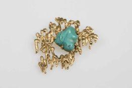 Brosche Gold 585 mit 1Türkis, 19,1 g;