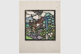 Franz von Zülow (Wien 1883 - 1963)Wanderer, handcolorierter Papierschnitt, Schablonendruck, unten