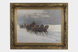 Künstler 20.Jh.,Troijka, undeutlich signiert, Öl auf Leinwand, 60x80 cm, gerahmt;