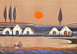 Gottfried Kumpf (Annaberg/Salzburg 1930 geb.)Feierabend, signiert Kumpf, Lithografie, Nr. 199 von