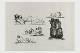 Fritz Wotruba (Wien 1907-1975) Liegende, Lithografie, signiert F. Wotruba, E. A., Bildausschnitt