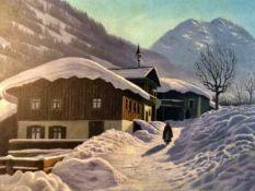 Georg Janowski (wohl Österreichisch, 20.Jh.,) Winterlandschaft in den Alpen mit Bauerngehöft,