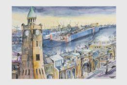 Franz Oberger (Wr.Neustadt 1948) (freischaffender Künstler in Wr.Neustadt), Hamburg, Landungsbrücke,