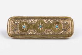 Biedermeier Broschefein ziseliert, rechteckig, 3 kleine Türkisperlen, Gold 580, 4,8g;