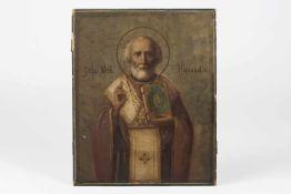 Russische Ikone 19.Jh.Nikolaus, Erzbischof von Myra, etwas besch., 27x22 cm;