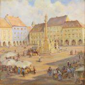 Luise Kadletz (Wiener Neustädter Malerin)Wr. Neustadt, Hauptplatz, signiert Kadletz, Öl auf