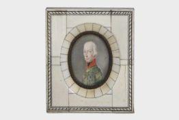Portrait des Kaisers I. von Österreichum 1810/20, das fein gemalte Brustportrait zeigt den Kaiser in
