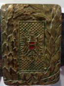Schnalle mit Wappen, ZollwacheÖsterreich, an braunem Originalledergürtel;