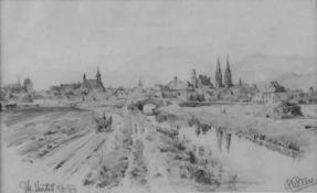 """Rudolf Pichler ( Linz 1874-1950) Blick auf Wiener Neustadt, betitelt und datiert """"Wr. Neustadt,"""