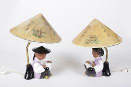 Paar Tischleuchten Carli BauerWKM, Lesende Chinesen, zeigelrote Keramik, farbig glasiert , gold