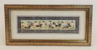 Indien: Dekorative Malerei im indo-persischen MoghJagd-Szene mit 7 Reitern auf der Jagd nach 2