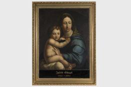 Bezeichnet Jakob Ginzel (1792-1862)Madonna mit Kind, Öl auf Leinen, 78x62 cm, gerahmt;