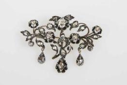 Diamant-BroscheSilber, Diamantrauten in Rosenschliff, mit Goldnadel, Arbeit 2 Hälfte 19. Jhdt., 26,9