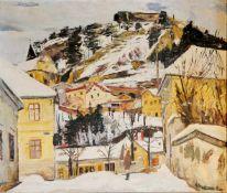 Michael Frank Bauer Pitten in Winter, signiert M.Frank Bauer, Öl auf Leinwand, 67x79 cm, gerahmt;