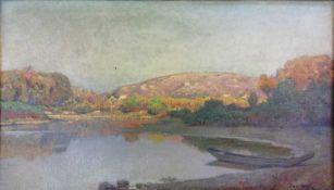 Franz Horst (Wien 1862-1956 Klosterneuburg)(Klosterneuburger Maler), Donauau, Öl auf Leinwand, 35x61