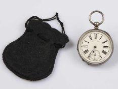 Taschenuhr Silber Marke J.R.LOSADA LONDON, um 19.Jhdt., Emailzifferblatt, dieses mit feinem