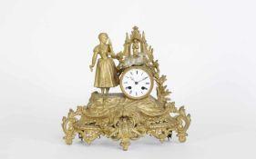 Französische KaminuhrHalbstunden Schlossscheiben-Schlagwerk auf Glocke, Federzugwerk, weiß
