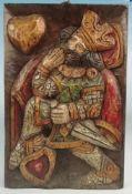 ReliefKönig, Holz geschnitzt, farbig gebeizt, 60x40cm;
