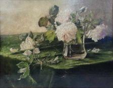 Künstler Anfang 20Jh.Rosenstillleben mit Vase, Öl auf Leinwand, 47x 36cm, gerahmt;