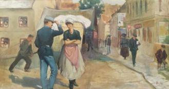 """Künstler 20Jh.,monogrammiert und datiert P.F. 19210, """"Straßenszene mit Wäschermädel und Kavalier"""","""