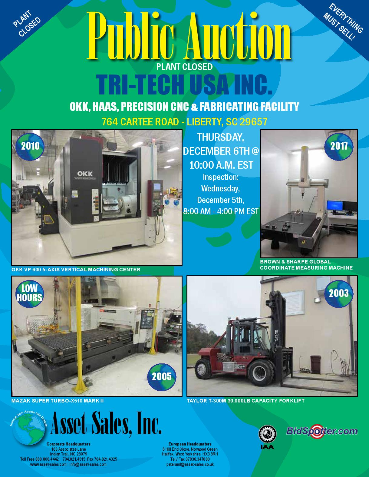 TRI-TECH USA INC. OKK, HAAS, Precision CNC & Fabricating Facility