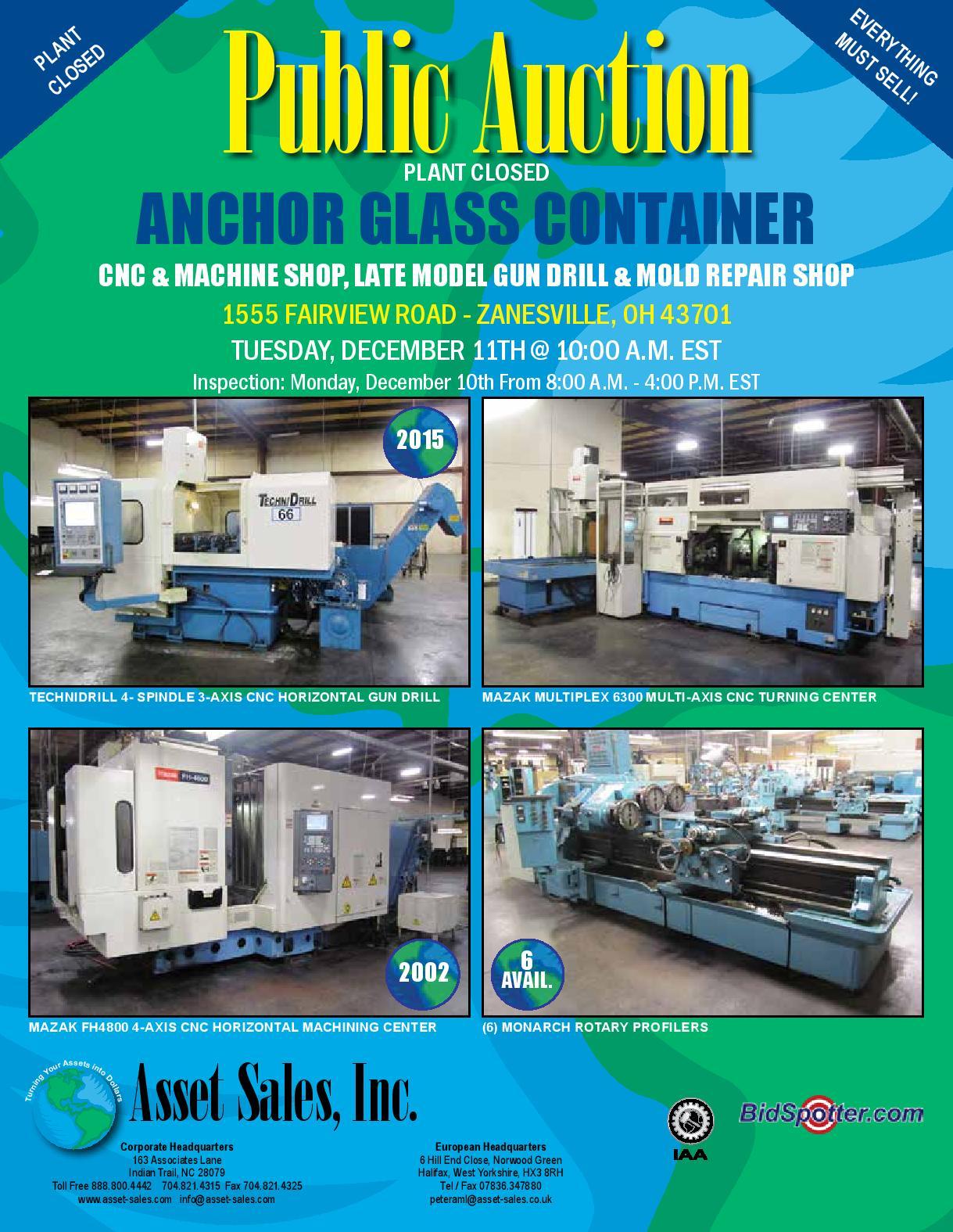 ANCHOR GLASS CONTAINER CNC & Machine Shop, Late Model Gun Drill, Mold Repair Shop