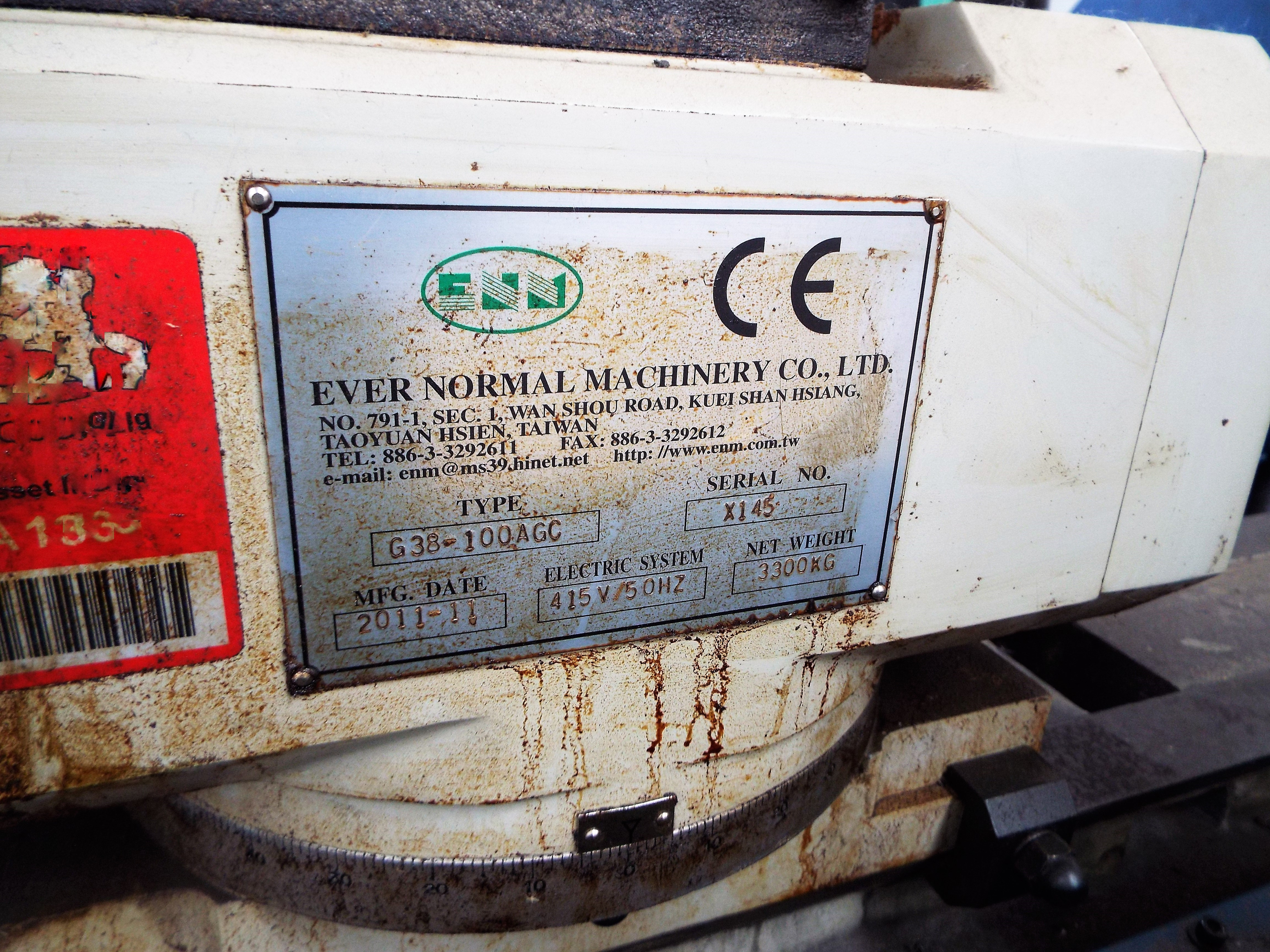 Lot 12 - Ever Normal Machinery G38-100AGC Cylindrical Grinding Machine.