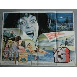 """""""Friday the 13th"""" (1980) 1st release original British Quad film poster, X certified."""