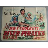 DAVY CROCKETT AND THE RIVER PIRATES (Walt Disney, 1956) British Quad film poster,