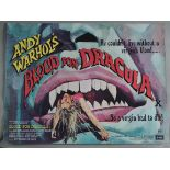 """ANDY WARHOLS """"Blood for Dracula"""" 1974 first release British Quad film poster printed in England by"""
